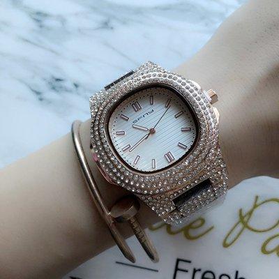 手錶 配飾 歐美風格精品方形大表盤男女中性手表奢華三排水鉆滿天星氣質手表