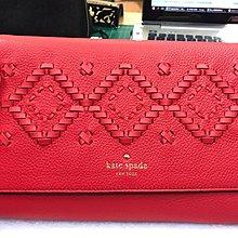 Kate spade WKRU5489 紅色編織圖案真皮斜包(清貨)