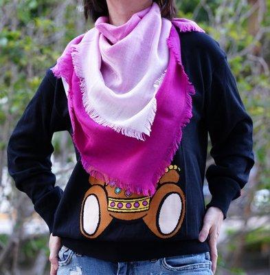 Gucci Kids 343358 GG jacquard stole 羊毛絲 GG 披肩 粉紅漸層 現貨