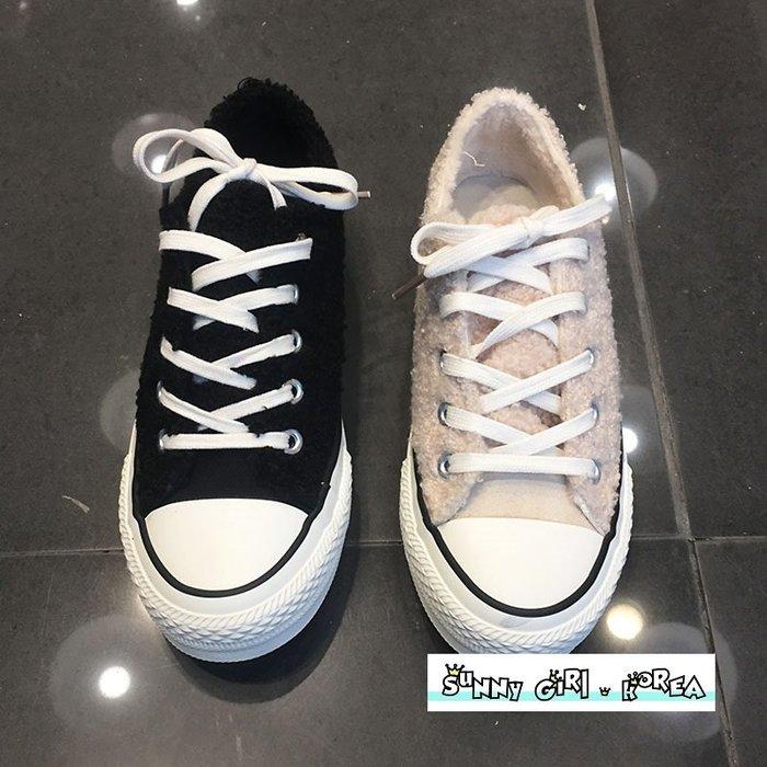 正韓休閒鞋*Sunny Girl*韓國代購加絨保暖毛毛帆布鞋板鞋 2019十二月新款 - [WH1418]