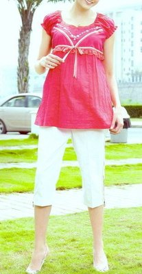 ☆╮十月美人╭☆只賣159元僅兩套【9698】展露出耀眼迷人丰采☆俏麗雙彩紋風情褲裝~玫紅~