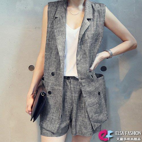 套裝條紋春夏 休閒西裝領背心+棉麻修身短褲 艾爾莎【TGK5037】