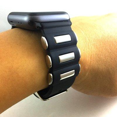 Apple Watch 38mm 42mm 專用 代用 錶帶 不鏽鋼配件造型  搭配 優質矽膠 限量供應 金屬厚感加倍