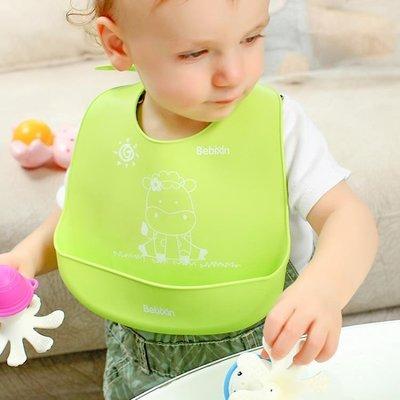 嬰兒圍嘴寶寶吃飯防水全硅膠圍兜新生兒飯兜夏季立體口水巾食飯兜