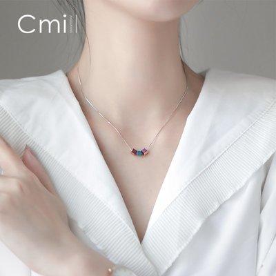 FAINO s925銀炫彩方塊項鏈簡約個性小巧吊墜小眾設計鎖骨鏈時尚韓版女