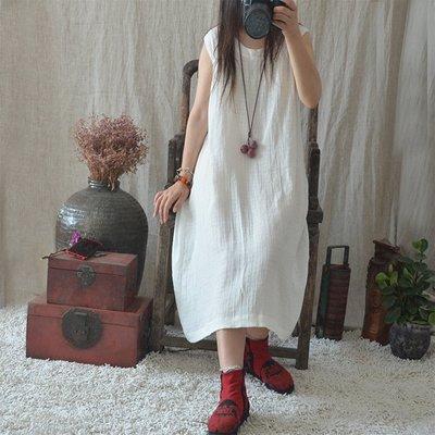 (老銀屋)夏季新品簡約圓領無袖棉麻連衣裙