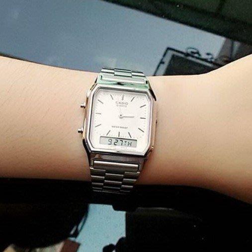 CASIO復刻版 雙時區顯示電子功能+石英錶 長方型款 男女適用 附台灣卡西歐保固卡【超低價】AQ-230A