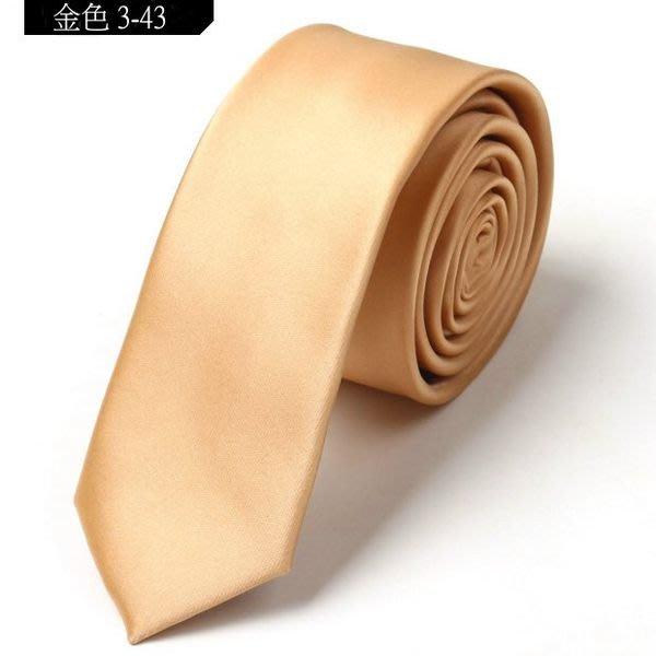 vivi領帶家族 新款韓版窄領帶 5CM (金色3-43)