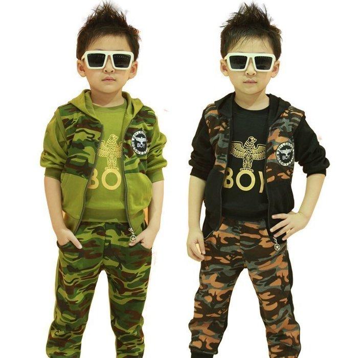【優上精品】童裝秋款套裝男童秋裝大童軍裝外套兒童迷彩服運動三件套(Z-P3246)