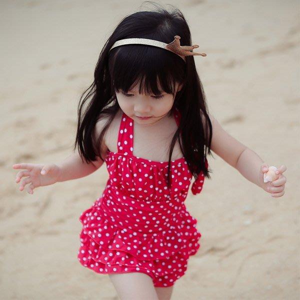 5Cgo【鴿樓】會員有優惠 42725506688 寶寶溫泉泳衣女遮肚兒童泳衣小中大童可愛波點連體裙式泳裝 連身泳衣