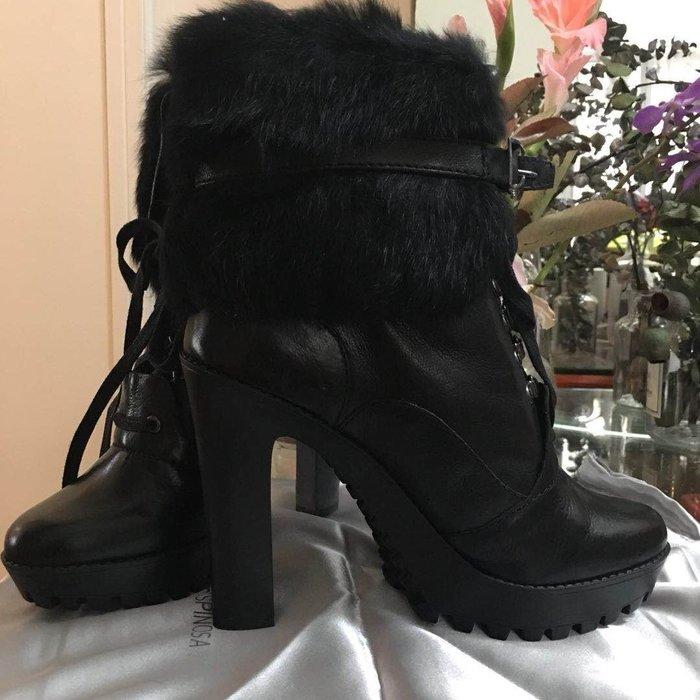 全新carolinna espinosa毛皮半筒高跟靴/澳門購入