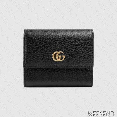 【WEEKEND】 GUCCI GG Marmont 皮夾 短夾 卡夾 零錢包 黑色 546584