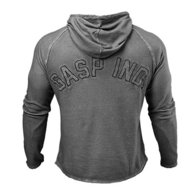 GASP健身運動彈力寬鬆套頭連帽衛衣長袖型男跑步訓練外套