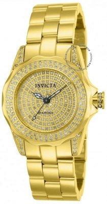 展示品 Invicta 14521 31mm 0.95CTW Pro Diver Diamond Pave Dial Gold Tone Womens