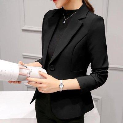 小西裝外套2018秋裝新款職業百搭長袖韓版修身顯瘦短款外套女 Ic2719