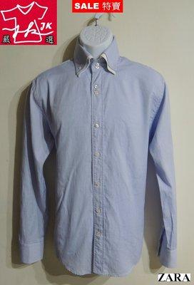 本周特價-專櫃品牌 ZARA 襯衫 長袖 牛津款-男款-L號-淺藍【JK嚴選】太陽的後裔