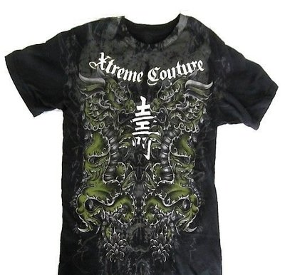 Xtreme Couture Affliction 短袖 T 恤 黑色 壽字雙龍刺青 手工 潮牌 S 【 以靡專櫃正品】