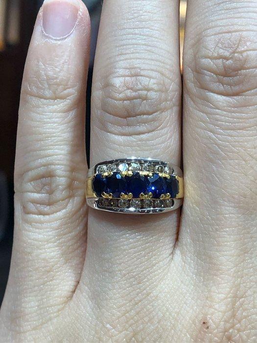 75分天然藍寶石鑽石戒指,搭配28分天然鑽石,經典線戒款式,超值優惠現金出清價19800