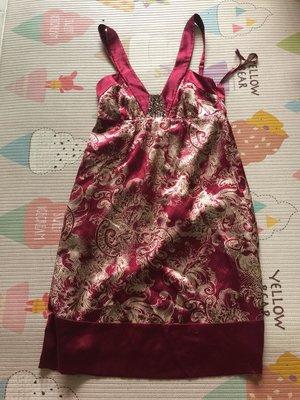 *衣服買二送一*Bcbg 紅米印花絲亮片鑲珠洋裝 size 0