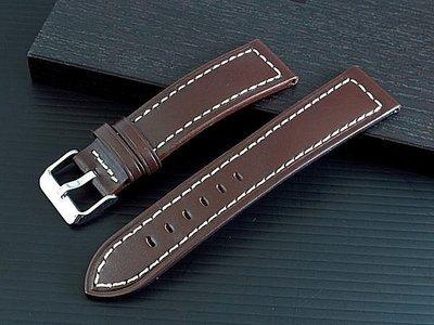 20mm收18mm可替代seiko oris hamilton原廠錶帶之平面無紋咖啡色真牛皮pilot軍風錶帶