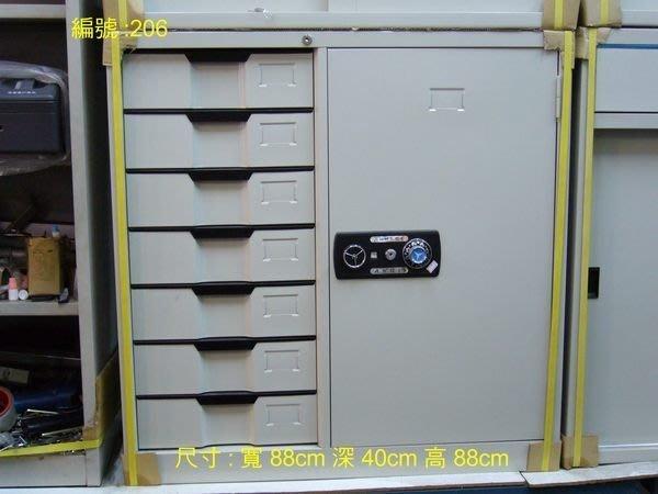 左邊七抽屜一門公文櫃和3尺玻璃拉門公文櫃
