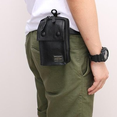 PORTER 吉田 小腰包 男包 皮帶小掛包 PU皮質小包 5.5寸手機包