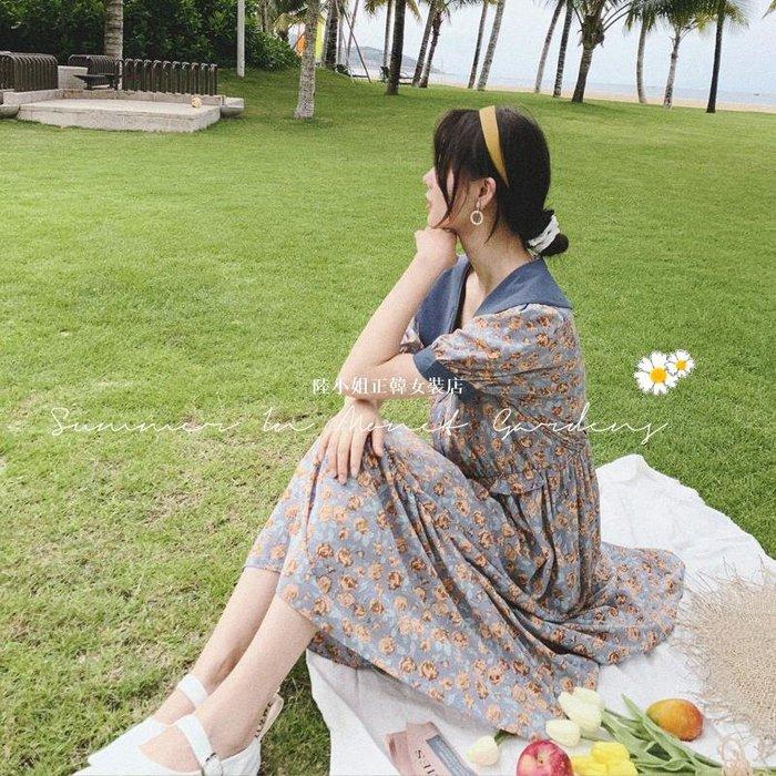 陸小姐正韓女裝店娃娃領連身裙女2020新款夏天法式復古收腰顯瘦魚尾碎花長裙子洋裝超仙