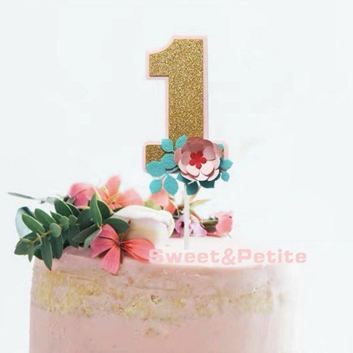 PR496❤大型紙花蛋糕插牌閃亮數字裝飾❤ 生日蛋糕 插牌 慶生派對 蛋糕裝飾 裝飾蛋糕 拍攝道具 蛋糕台 花朵 佈置