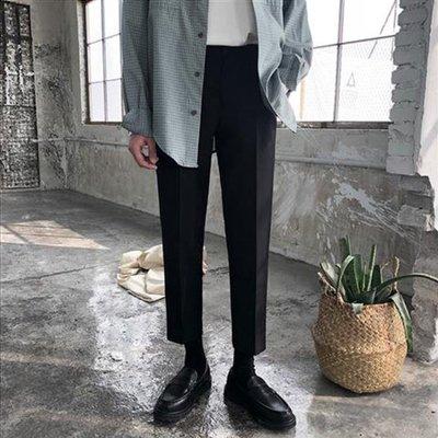 春季韓版垂感小西褲男直筒九分褲修身男士小腳休閒褲潮黑色西裝褲
