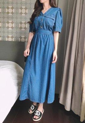 小艾莉-正韓-兩件式排釦牛仔衫+腰後鬆緊牛仔裙 套裝-D060108