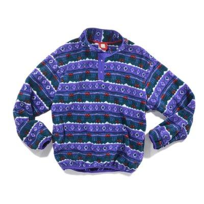 L.L Bean 刷毛 S 紫 印花 圖騰 口袋 長袖 中層衣 Fleece Sleeve 罩衫 smock 撞色