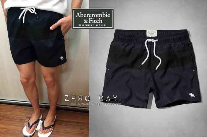 【零時差】A&F Abercrombie&Fitch Campus Fit Swim Shorts麋鹿拼色海灘褲-深藍黑