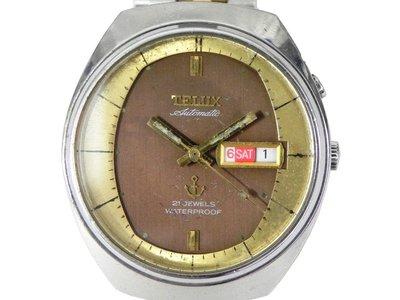[專業模型] 機械錶 [TELUX 7698-A]  TELUX 鐵力士 不銹鋼錶[咖啡面金邊][21石]中性錶/軍錶