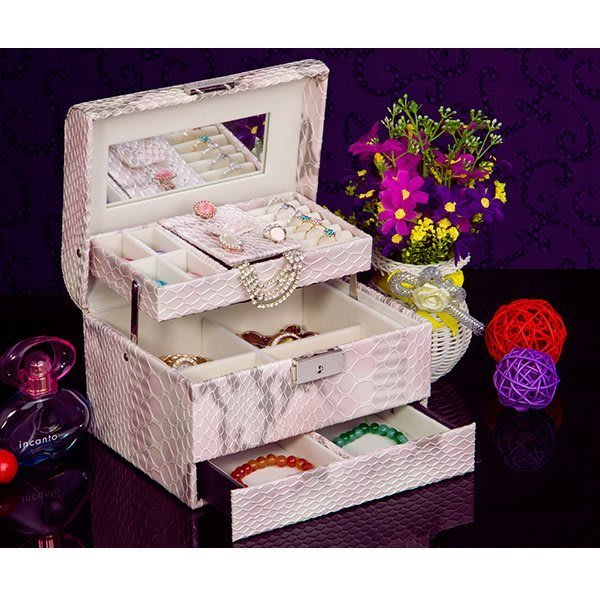 5Cgo【鴿樓】會員有優惠 18688260106 首飾盒 公主韓國化妝盒 飾品盒 生日禮物 公主珠寶盒 大碼梳妝盒