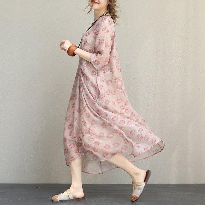||一品著衣|| 文藝山茶花絲麻精工印花袍子輕柔飄逸長版連身裙QQ