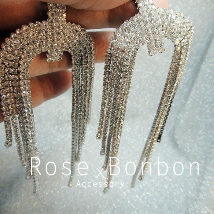 現貨 正韓水鑽耳環 幾何 極簡 流蘇 純銀針 耳針 滿鑽 亮鑽 鋯石  喜宴 喜酒 韓國飾品Rose Bonbon