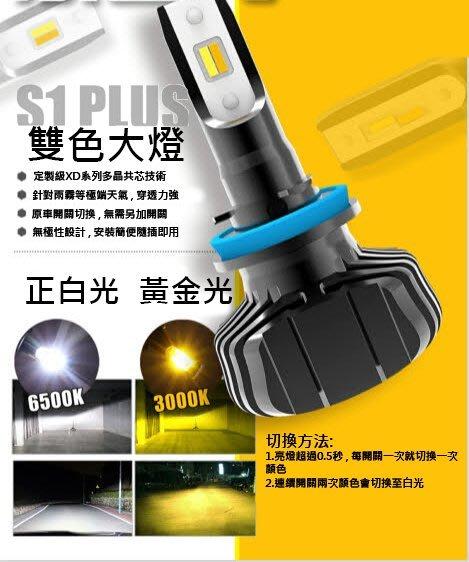 興榮汽配- 【保固一年】雙色 S1+ LED大燈 魚眼 LED 大燈 H4/H7/H8/H11/H16/9006