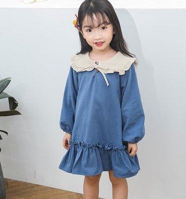 小清新 女童洋裝 長袖新款娃娃領連身裙寬鬆公主裙韓版時尚百褶花邊 DR29808【全場免運】