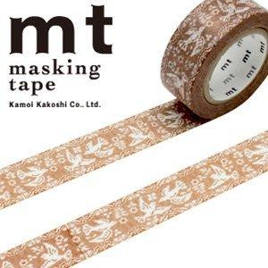 《散步生活雜貨-和紙膠帶》 日本mt ex系列 蕾絲.鳥 紙膠帶 18mm 單捲-MTEX1P106