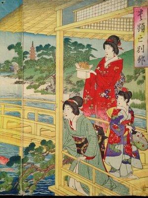 【三顧茅廬 】 (稀品))日本畫家 楊洲周延(1838一1912)的原創木版畫。