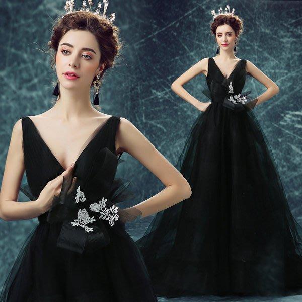 黑色性感深v領公主新娘婚紗禮服 晚宴年會主持人演出服 露背禮服 長洋裝—莎芭