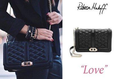 【 sale】Rebecca Minkoff Love 小香風 黑色淡金鍊 黑鍊 銀鍊 菱格紋兩用側肩包