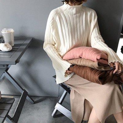 針織衫女長袖冬新款韓版簡約寬松顯瘦豎條紋百搭半高領毛衣