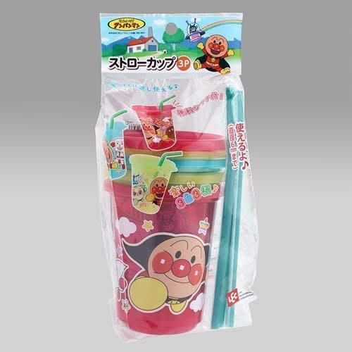 【東京速購】日本製造~麵包超人系列 外出隨身吸管水杯(附蓋子)3個一組