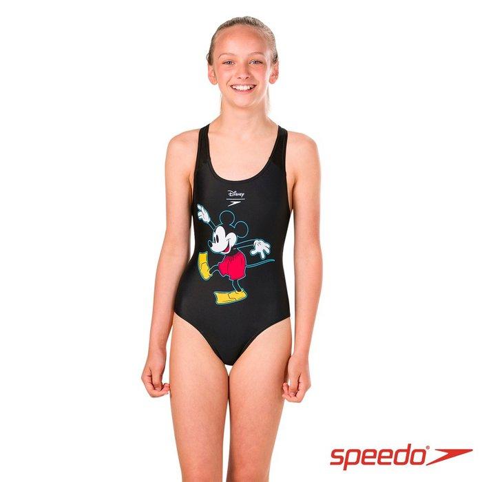 ~有氧小舖~SPEEDO 女孩連身三角泳衣 正版Disney 米奇 復古經典款
