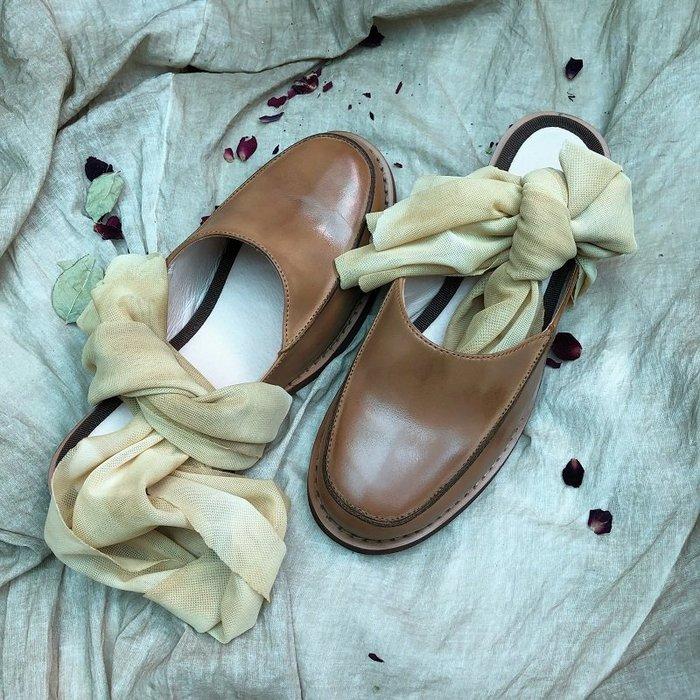 *菇涼家*pengtai系列 智仙生同款扎染绑带拖鞋 中跟穆勒鞋单鞋女三色