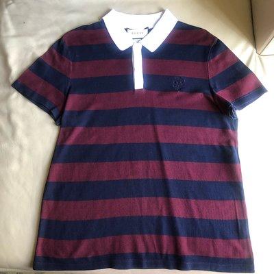 [品味人生2]保證正品 GUCCI  條紋  短袖polo衫 網眼POLO衫 size XL