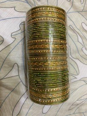 印度手環綠色帶金