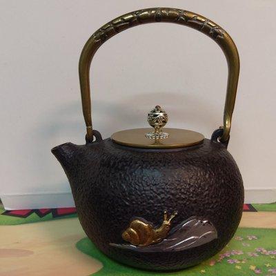 生鐵壺 銅蓋銅把 生鐵茶壺 養生壺 附銅插(圖4.5) 高11公分,不含把手,最寬18公分