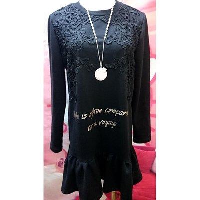 黑色長袖圓領緹花拼接燙金英文字母連身裙洋裝休閒百搭魚尾裙寬鬆傘擺甜美可愛